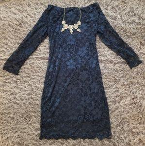 Ali & Kris Blue Lace Dress W/ Open Back that Ties
